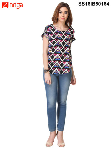 Navy Blue Color Crepe Top - SS16IB50164