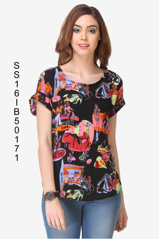 Black Color Cotton Women's Top - SS16IB50171