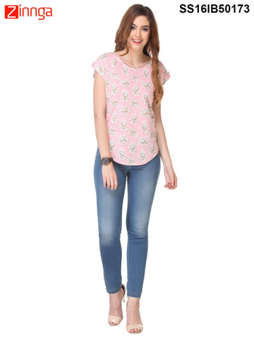 Peach Color Crepe Top - SS16IB50173