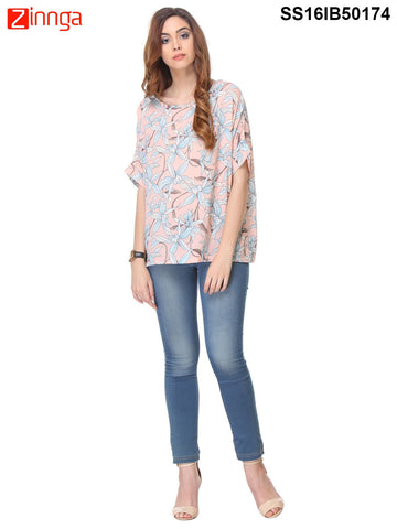 Peach Color Crepe Top - SS16IB50174