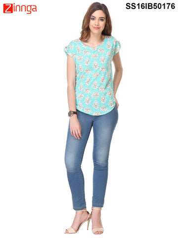 Turquoise Color Crepe Top - SS16IB50176