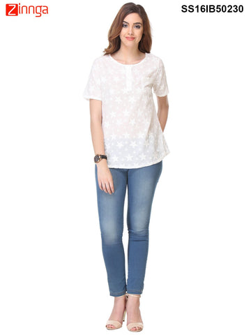White Color Cotton Top - SS16IB50230