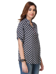 Navy Blue Color Rayon Top - SS16IB50234