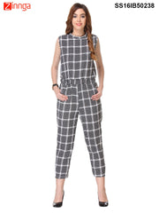 Black and White Color Cotton Jump Suit