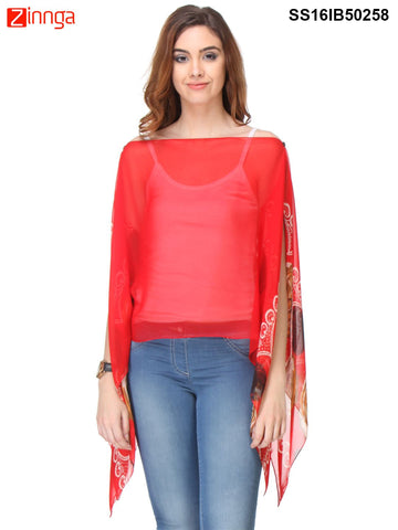 Red Color Chiffon Top - SS16IB50258