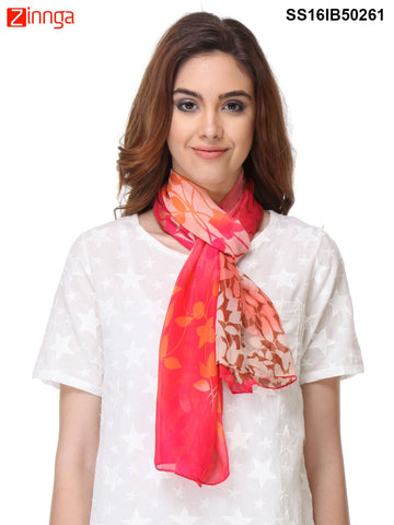Red Color Chiffon  Scarff - SS16IB50261