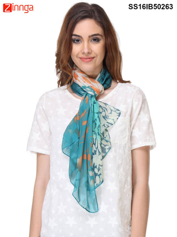 Turquoise Color Chiffon Scarff - SS16IB50263