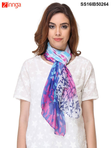 Navy Blue Color Chiffon Scarff - SS16IB50264