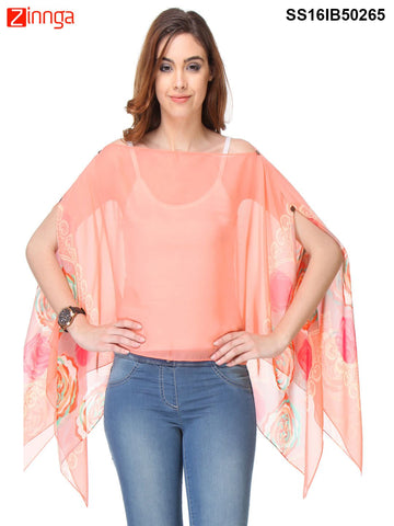 Peach Color Chiffon Women's Top - SS16IB50265