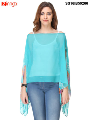 Sky Blue Color Chiffon Women's Top - SS16IB50266