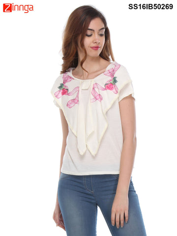 White Color Knitted Top - SS16IB50269