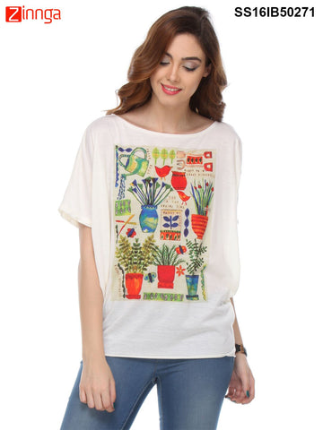Cream Color Cotton Women's Top - SS16IB50271