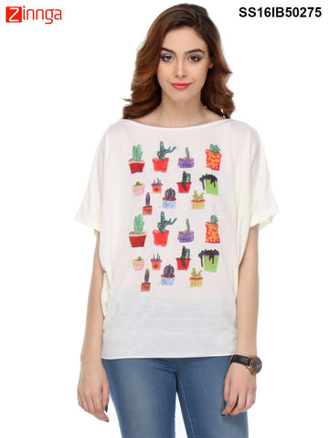 Cream Color Cotton Women's Top - SS16IB50275