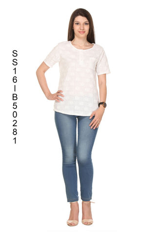 Cream Color Cotton Women's Top - SS16IB50281-FRONT
