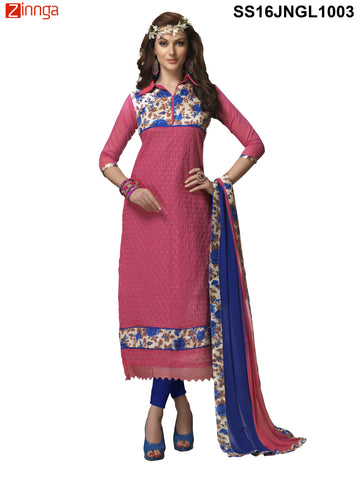 Pink Color Chanderi Cotton Straight Unstitched Salwar - SS16JNGL1003
