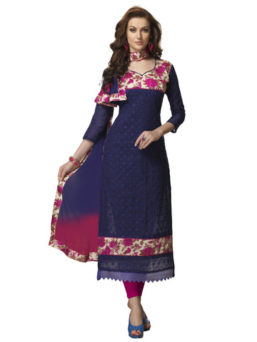 Navy Blue Color Chanderi Cotton Straight Unstitched Salwar - SS16JNGL1006
