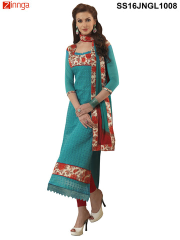Sky Blue Color Chanderi Cotton Straight Unstitched Salwar - SS16JNGL1008