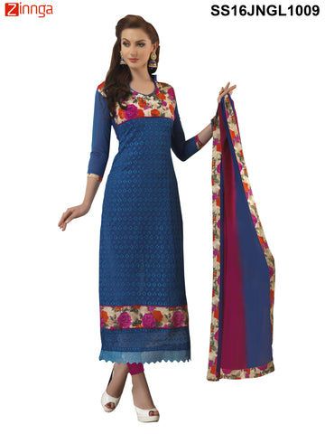 Royal BlueColor Chanderi Cotton Straight Unstitched Salwar - SS16JNGL1009