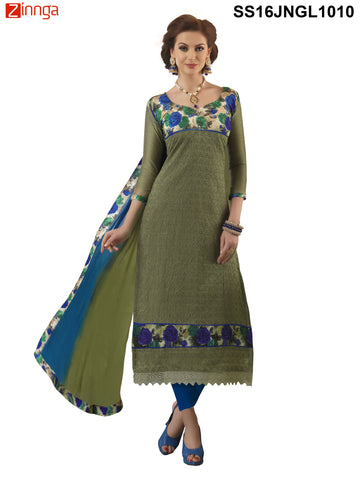 Green Color Chanderi Cotton Straight Unstitched Salwar - SS16JNGL1010