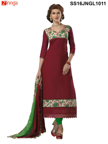 Maroon Color Chanderi Cotton Straight Unstitched Salwar - SS16JNGL1011