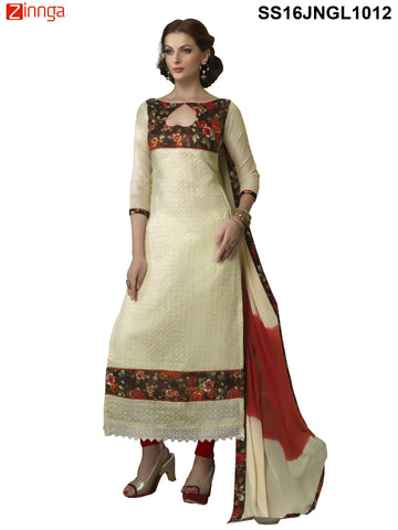 Beige Color Chanderi Cotton Straight Unstitched Salwar - SS16JNGL1012