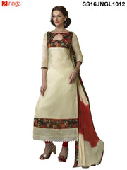 Beige Color Chanderi Cotton Straight Unstitched Salwar
