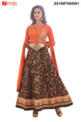 Orange  and Multi Color Bhalpuri Print  Semstitched Salwar