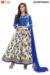 Blue  and Multi Color Semstitched Bhalpuri Print Salwar