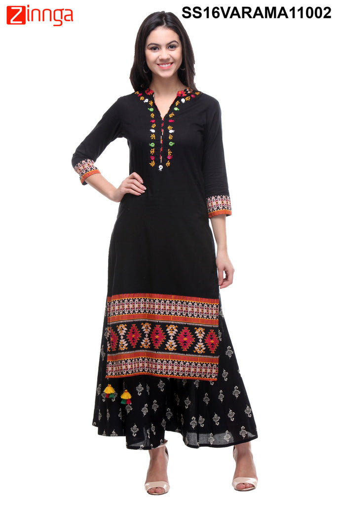 Black Color Cotton Cambric Stitched Kurti