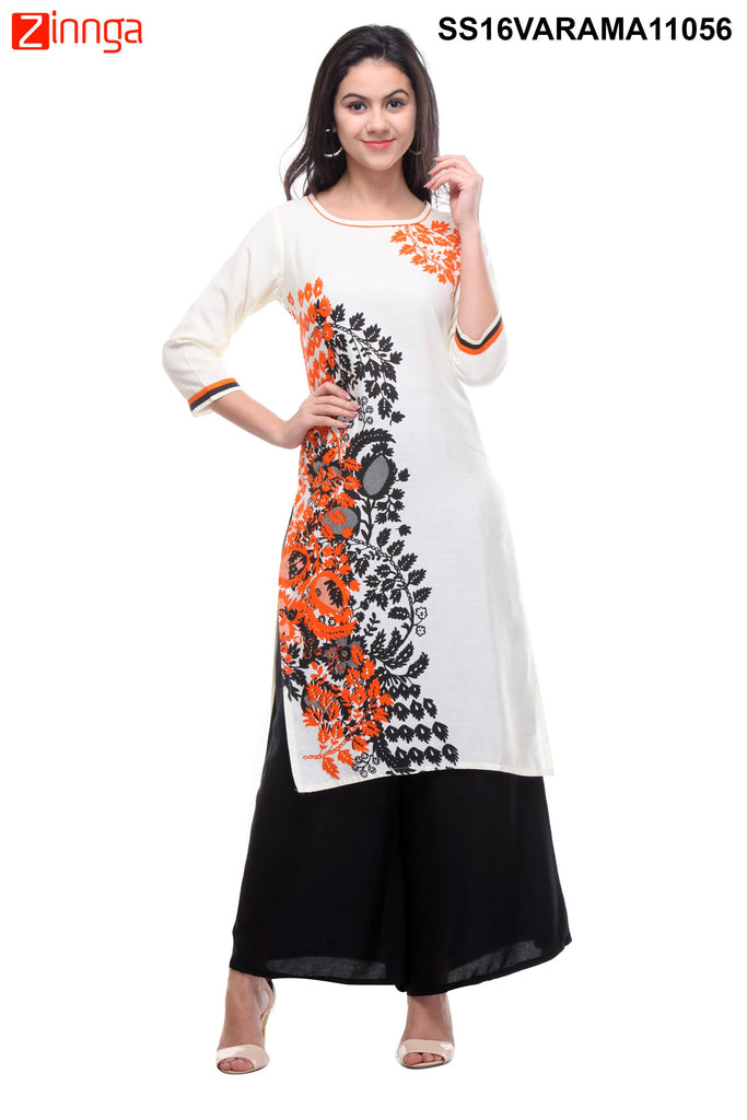 White Color Flex Cotton Stitched Kurti