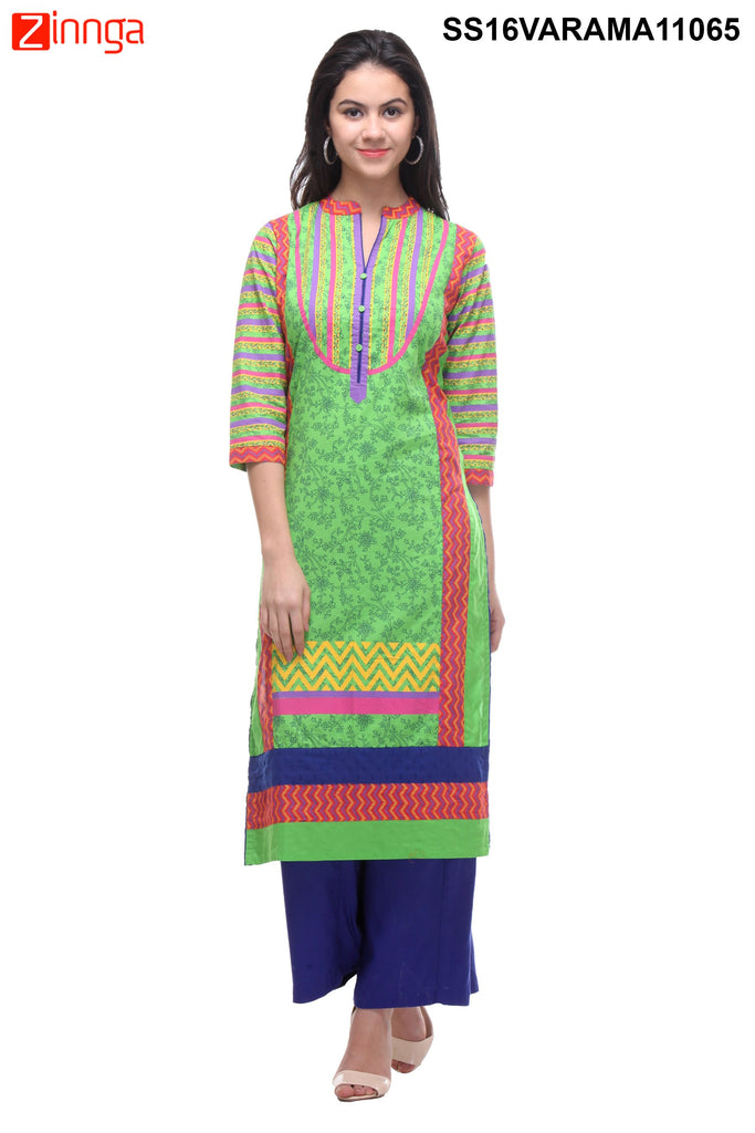 Green Color  Cotton Cambric Stitched Kurti