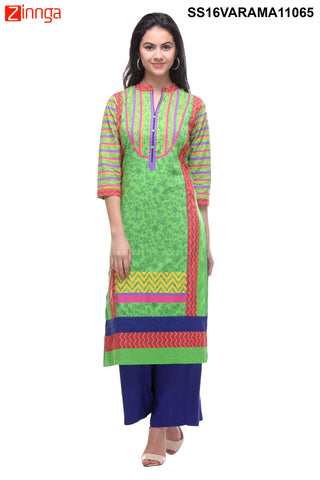 Green Color  Cotton Cambric Stitched Kurti - SS16VARAMA11065