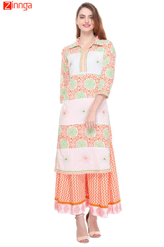 White Color  Cotton Cambric Stitched Kurti - SS16VARAMA11129