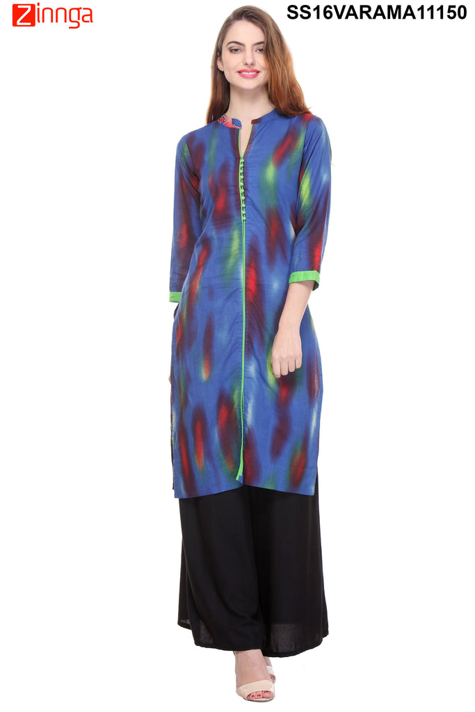 Blue Color  Cotton Cambric Stitched Kurti