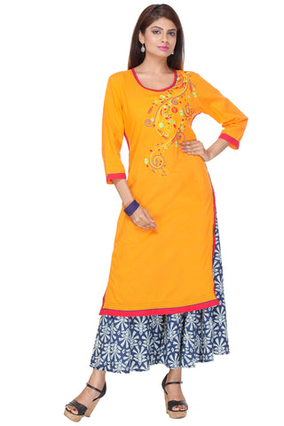 Light Orange Color  Cambric Stitched Kurti - SS16VARAMA11159