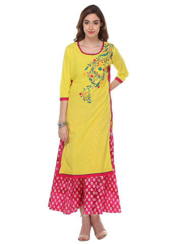 Yellow Color  Cambric Stitched Kurti - SS16VARAMA11160
