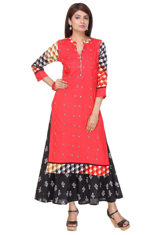 Red Color Rayon Stitched Kurti - SS16VARAMA11163