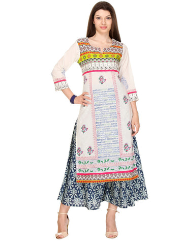 Multi Color Cotton Cambric Stitched Kurti - SS16VARAMA11171_CHR