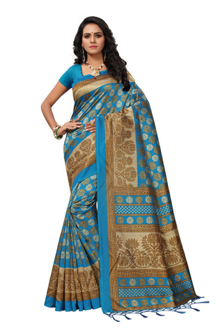 Blue Color Mysore Silk with Tesals Printed Saree - SS181585