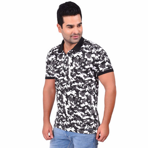 Multi Color Cotton  Men's Camo Printed TShirt - SS19AMCPO1001A