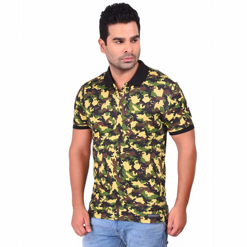 Multi Color Cotton  Men's Camo Printed TShirt - SS19AMCPO1001