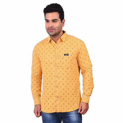 Yellow Color Cotton Men's Printed Shirt - SS19AMCSH1001