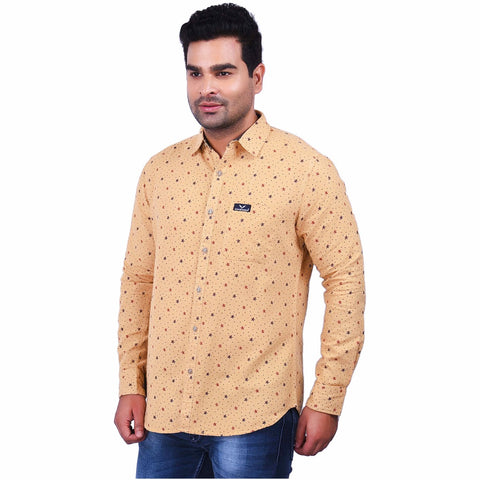 Light Yellow Color Cotton Men's Printed Shirt - SS19AMCSH1002