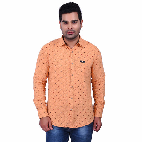 Orange Color Cotton Men's Printed Shirt - SS19AMCSH1003