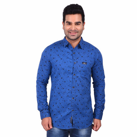 Light Blue Color Cotton Men's Printed Shirt - SS19AMCSH1004