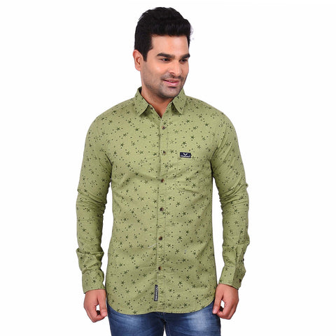 Green Color Cotton Men's Printed Shirt - SS19AMCSH1005