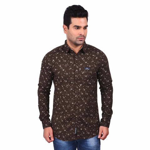 Brown Color Cotton Men's Printed Shirt - SS19AMCSH1006