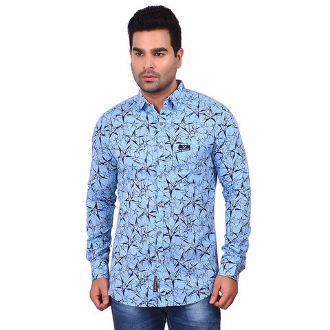 Blue Color Cotton Men's Printed Shirt - SS19AMCSH1007