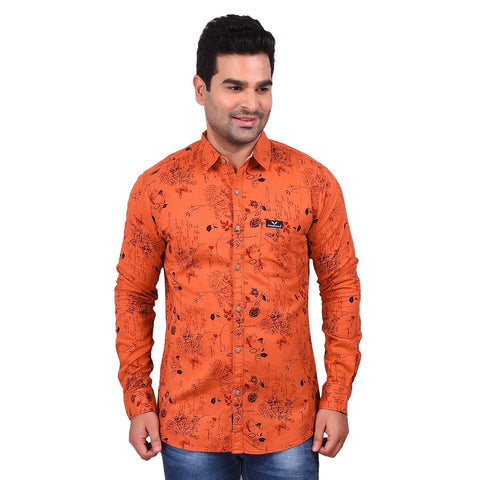 Orange Color Cotton Men's Printed Shirt - SS19AMCSH1008