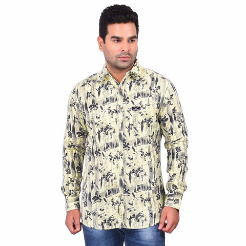 Beige Color Cotton Men's Printed Shirt - SS19AMCSH1009